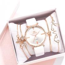 Relógio Feminino Quartz De Pulseira de Couro Branco e Kit de Pulseiras -