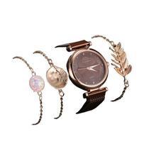 Relógio Feminino Quartz De Pulseira Magnética Marrom e Kit de Pulseiras -
