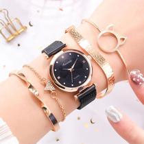 Relógio Feminino Quartz  De Pulseira Magnética Preto e Kit de Pulseiras -