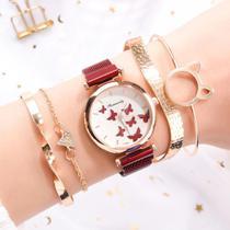 Relógio Feminino Quartz  De Pulseira Magnética Vermelho e Kit de Pulseiras -