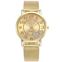Relógio Feminino Quartz Dourado Coração -