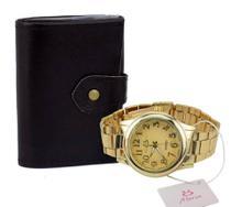 Relógio feminino quartz dourado Orizom + carteira sintética -