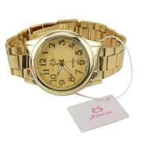Relógio feminino quartz dourado Orizom + colar + brinco - Orizom Technologies