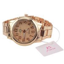 Relógio feminino quartz dourado Orizom + colar + brinco -