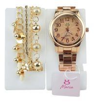 Relógio feminino quartz dourado Orizom + pulseira pandora - Orizom Technologies