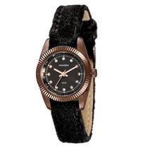 Relógio Feminino Redondo Pulseira de Couro Marrom Com Pedras - Mondaine