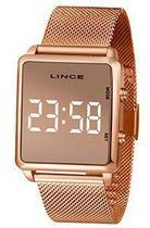 Relógio Feminino Retangular Rosê Digital em LED Lince Mdr4619l -