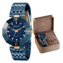 Relógio Feminino Seculus Aço Colorido Azul, Corrente, Par de Brincos e Pingente Solitário Azul 23529LPSVEQ1K1 Analóg -