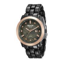 Relógio Feminino Seculus Aço Colorido Preto, Aro Rose Gold, Linha Aplause e Mostrador Madrepérola 20422LPSVUA6 Analó -