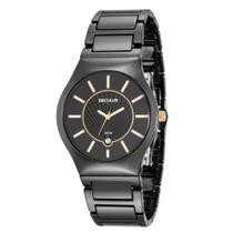 Relógio Feminino Seculus Aço Colorido Preto e Mostrador em Relevo Estriado 20449L0SVNQ1 Analógico -