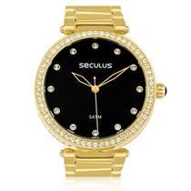 Relógio Feminino Seculus Analógico 20379LPSVDS2 Fundo Preto -