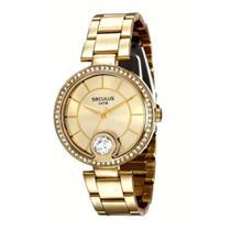 Relógio Feminino Seculus Dourado com Pedras Prova D'Água -