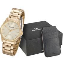 Relógio feminino seculus dourado kit cartões 20461LPSVDA2K1 -