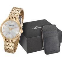 Relógio feminino seculus dourado kit cartões 20466LPSVDA1K1 -