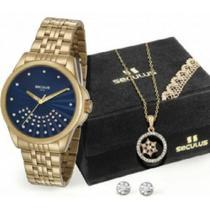 Relógio feminino seculus dourado kit colar 20599LPSVDS2K1 -