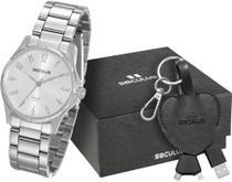 Relógio feminino seculus prateado kit 20461L0SVNA1K1 -