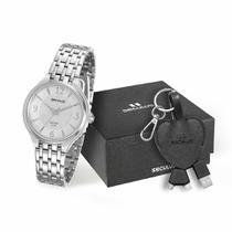 Relógio feminino seculus prateado kit 20465L0SVNA1K1 -