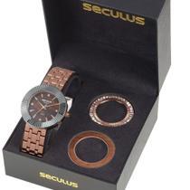 Relógio feminino seculus rose analógico kit aro 20598LPSVRS1 -