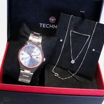 Relógio Feminino Technos Analógico Bicolor + Kit Colar e Brincos 2115MNM/K5K -