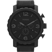 Relógio Fossil Masculino Nate Chronograph Preto Couro JR1354/2PN -