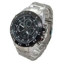 Relógio Funcional Aço Inoxidável Prata Masculino Luxo Digita + Caixa - Intimes