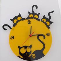 Relógio Gatos Petshop Sala Cozinha Escritório Quarto - Agv Criações