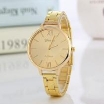 Relógio Geneva Dourado Luxo Feminino Aço Gold -