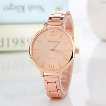 Relógio Geneva Dourado Luxo Feminino Aço Rosê Gold -