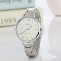 Relógio Geneva Luxo Feminino Aço Prateado -