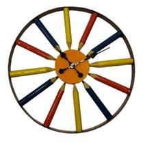 Relógio Grande Lápis Colorido Decoração Sala Cozinha - Az Design