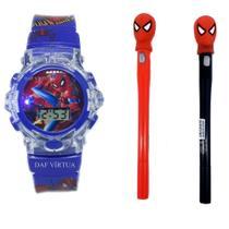 Relógio Homem Aranha Com Som Luzes 3d Caneta Com Led - Sm