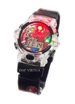 Relógio Homem Aranha Infantil Com Som Luzes Preto 3d - Sm