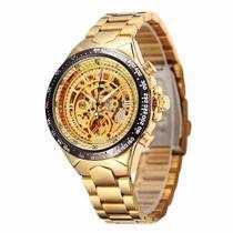 Relógio Importado Winner Skeleton Automático Ouro Dourado -