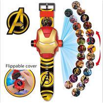 Relógio Infantil Esportivo Digital com Tampa Projetor do Homem de Ferro - Artx