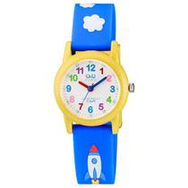 Relogio Infantil Masculino Q&Q Amarelo Azul Desenho Foguete -