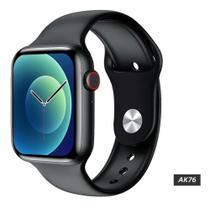 Relogio Inteligente AK76 Smartwatch Display Infinito Faz Chamadas Troca Foto e Pulseira - Preto - Smart Bracelet