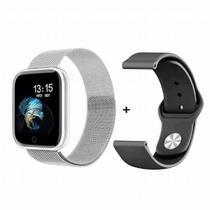 Relogio Inteligente Smart Watch Bt T80s 2 Puls. + Termômetro PRATA -