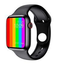 "Relógio inteligente smartwatch 12 lite ""pro"" w26 44mm android e ios tela infinita preto -"
