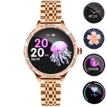 Relógio Inteligente Smartwatch Feminino Touch Screen Braccialetto Fitness Dourado -