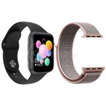Relógio Inteligente SmartWatch U78 Plus Preto Android iOS + 1 Pulseira Extra Nylon Rosa - Smart Bracelet