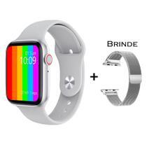Relogio Inteligente Smartwatch W26 Tela Infinita + Pulseira Extra Metal - Branco - iwo