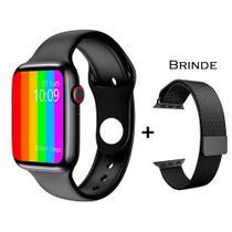 Relogio Inteligente Smartwatch W26 Tela Infinita + Pulseira Extra Metal - Preto - iwo