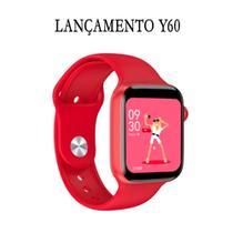 Relogio Inteligente Smartwatch Y60 44mm Android iOS Bluetooth - Vermelho - Smart Bracelet