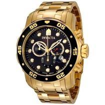 Relógio Invicta Masculino 0072 Pro Diver 48mm Banhado a Ouro 18k -