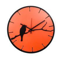 Relógio Laranja com passarinho decoração Sala Cozinha - Az Design