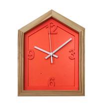 Relógio Laranja em Formato de Casa decoração Sala Cozinha - Az Design