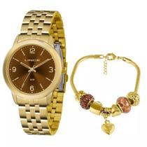 Relógio Lince Feminino Lrg4505l Ku48n2kx Dourado + Semijóia -