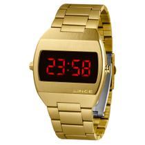 Relógio LINCE MDG4620L VXKX Digital Led Vermelho Dourado Quadrado SUPER OFERTA -