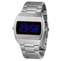 Relógio LINCE MDM4621L DXSX Digital PRATA Led Azul Quadrado Original NF Super Oferta -