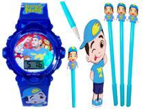 Relógio Luccas Neto Infantil Com Som Luzes Azul 3D + Caneta com Led - Sm